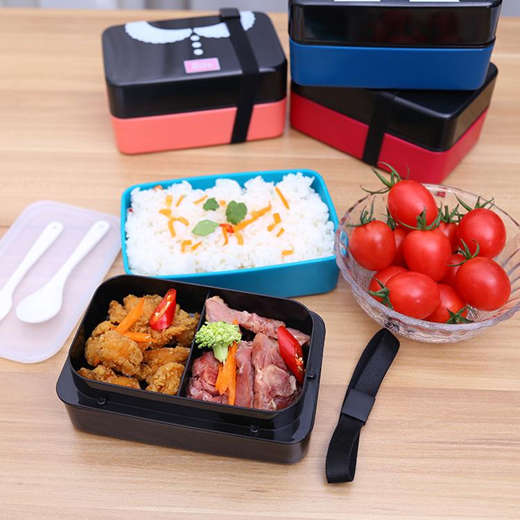 【免運費】創意浪漫可愛雙層便當飯盒便攜水果盒帶叉勺