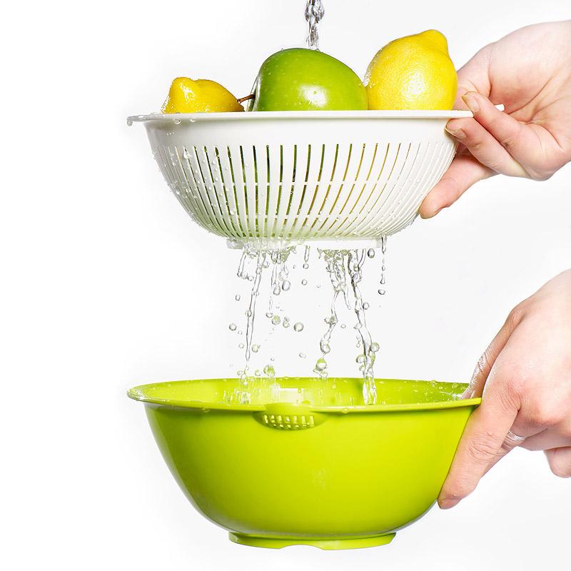【免運費】家用瀝水籃水果盤淘米器塑料雙層洗菜盆