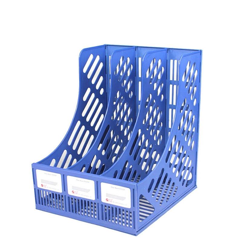 三格資料架(藍色)