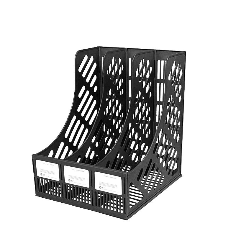 三格資料架(黑色)