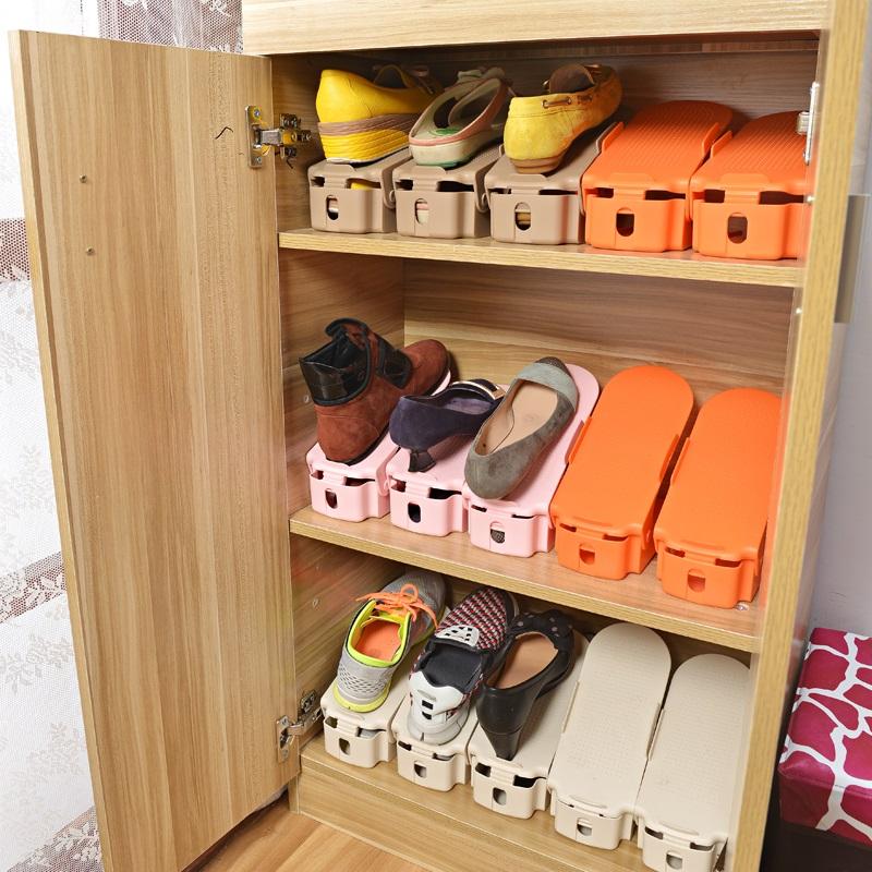【免運費】雙層加厚收納架可調節塑料壹體式鞋托架