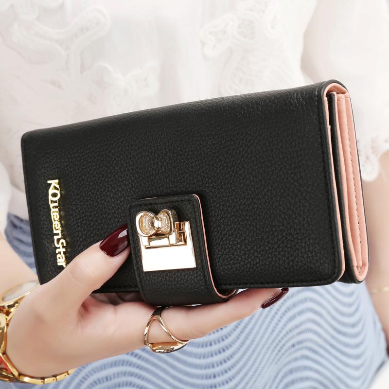 【免運費】女士皮夾錢包簡約搭扣小清新拉鏈錢夾