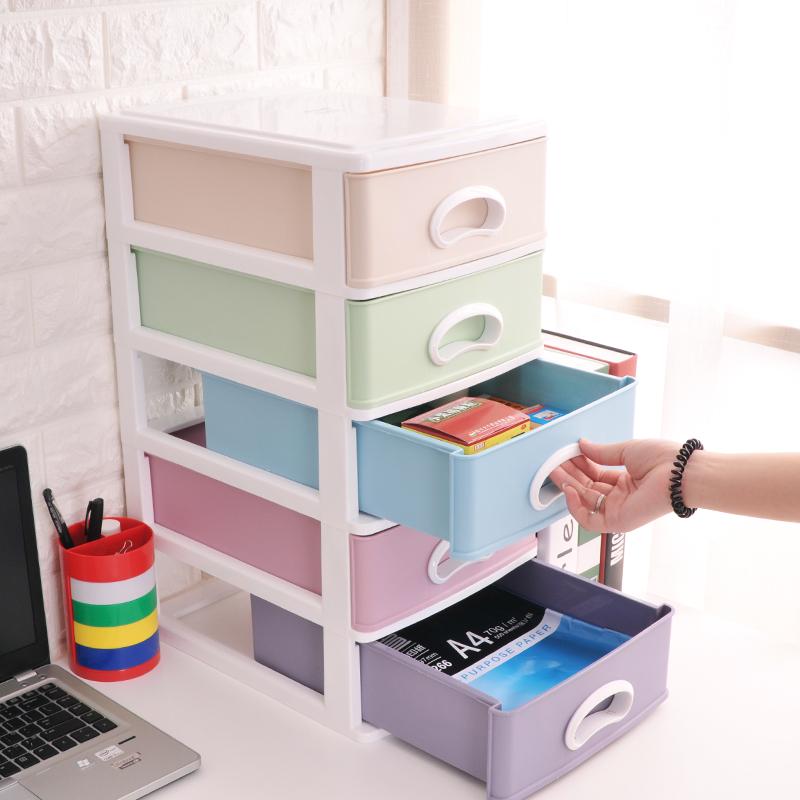 【免運費】辦公桌面塑料收納盒化妝品儲物整理箱