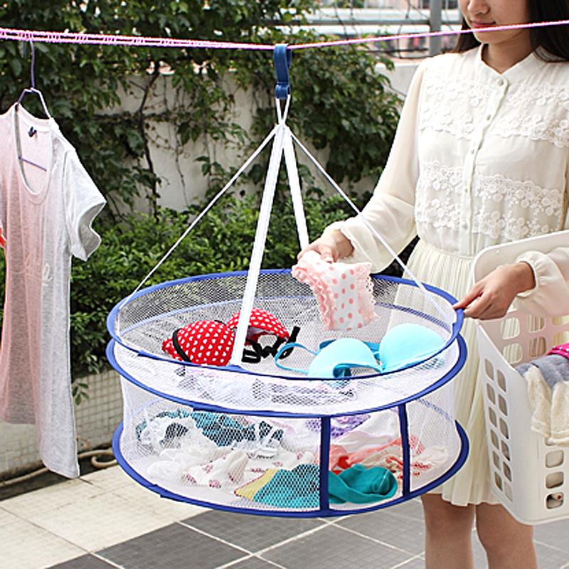 【免運費】家用封閉平鋪雙層曬衣網兜