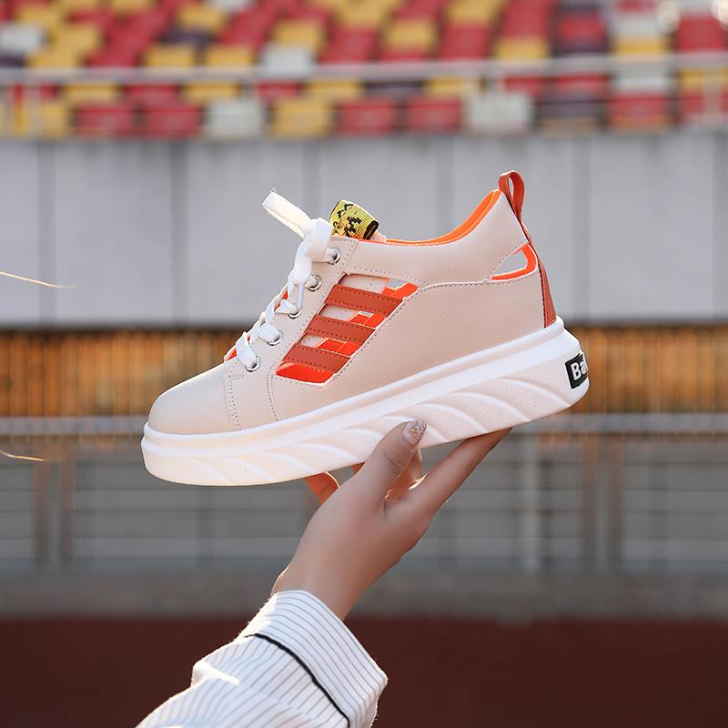 【免運費】透氣鏤空小白鞋拼色內增高百搭厚底女鞋