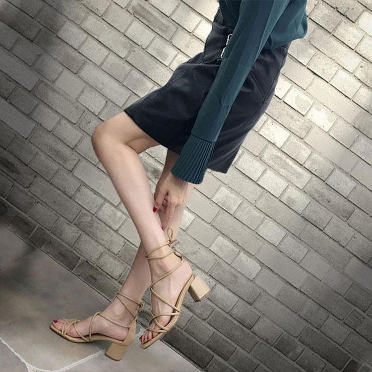 【免運費】新款綁帶粗跟夏季高跟涼鞋