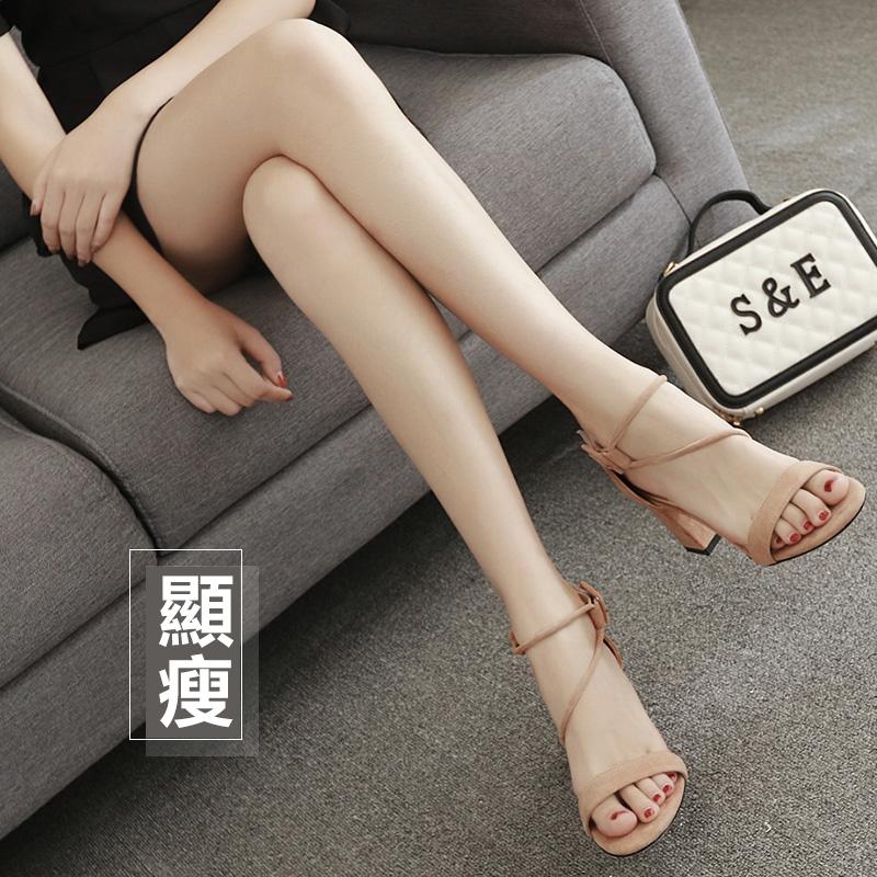 【免運費】網紅同款粗高跟一字帶小碼韓版涼鞋