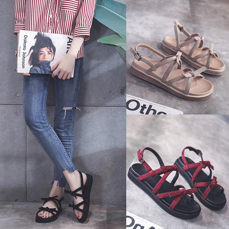 【免運費】韓版百搭黑色平底綁帶網紅同款涼鞋