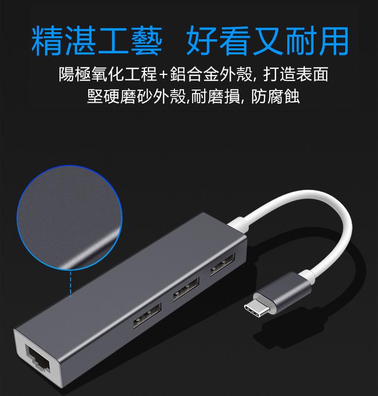 【免運費】鋁鎂合金即插即用無需驅動usb網線轉換器3.0type-c網線接口分線器