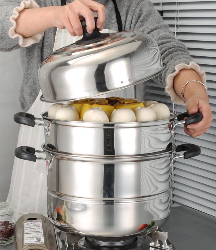 【免運費】家用煤氣竈用電磁爐 不鏽鋼蒸鍋三層蒸籠加厚