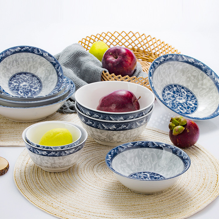 【免運費】景德鎮青花餐具組合家用日式陶瓷碗盤碗筷盤子