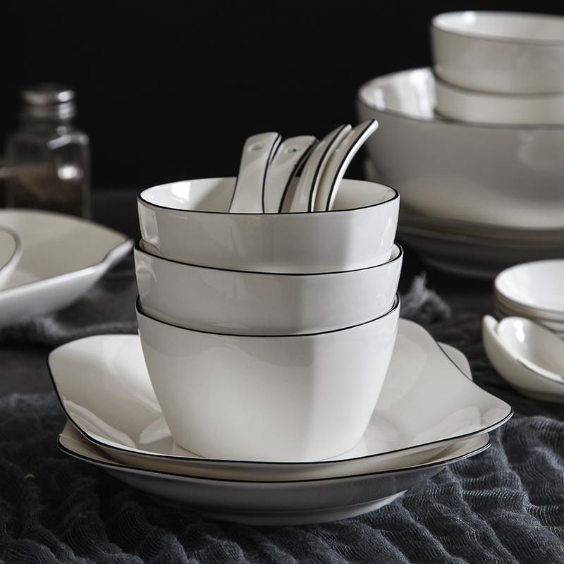 【免運費】北歐餐具套裝碗碟套裝家用4人吃飯陶瓷盤碗筷套裝