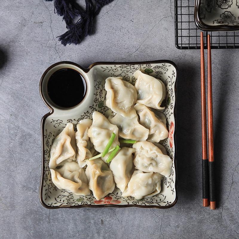 【免運費】日式釉下彩陶瓷餐具方形餃子盤帶醋碟家用菜盤