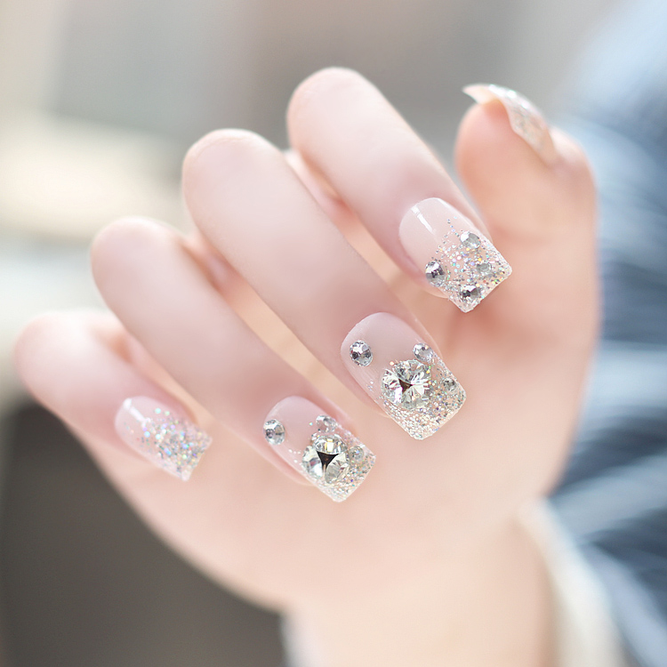【免運費】美甲用品 成品拆卸亮片堆鑽裸色假指甲貼片 美甲甲片 可穿戴