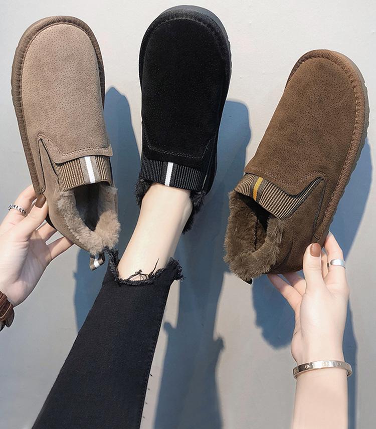 【免運費】一腳蹬加絨厚底防滑雪地靴