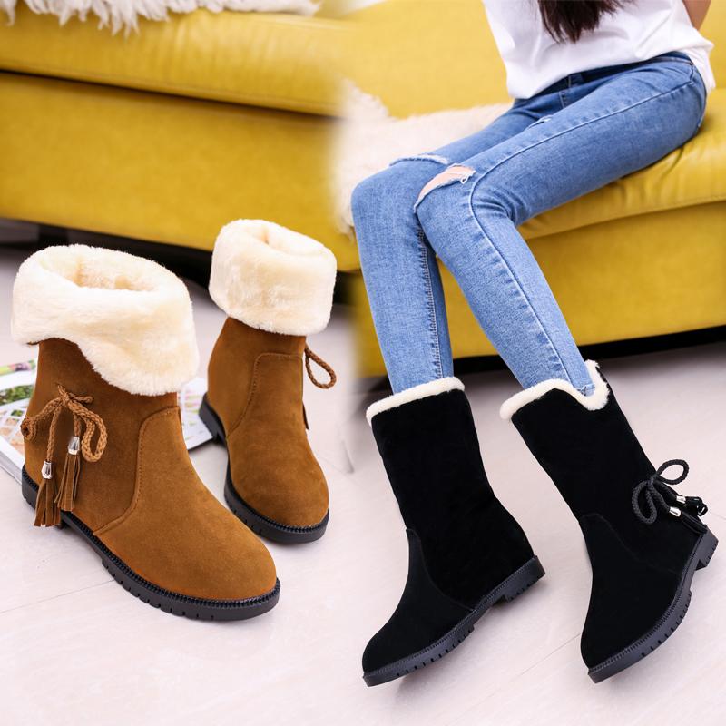 【免運費】保暖平底平跟加絨棉鞋雪地靴