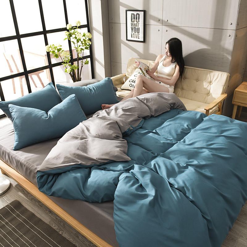 【免運費】純色全棉床上用品四件套1.8m1.5m床單被套