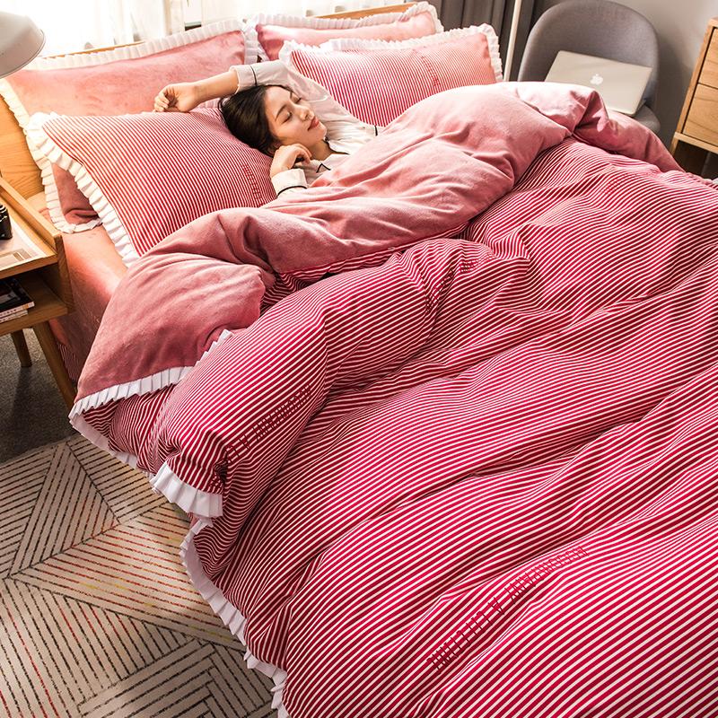 【免運費】加厚法蘭絨瑚絨雙面絨四件套床上被套床單