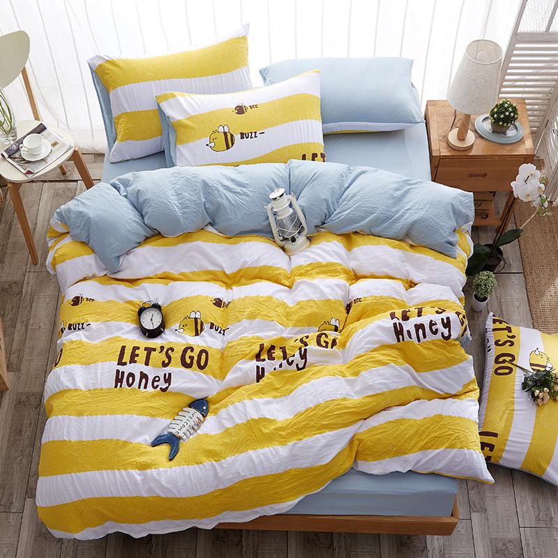 【免運費】床上簡約四件套水洗棉床單被套1.8m