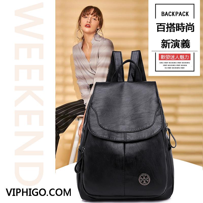 【免運費】2019新款百搭軟皮包蓋大容量背包女士