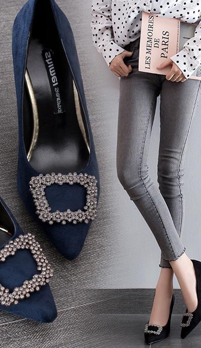 網紅單鞋水鑽方扣高跟鞋