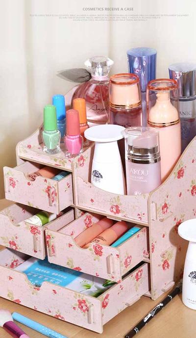 桌面木質化妝品收納盒