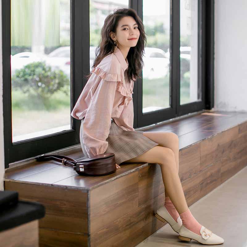 新款很仙的上衣複古港味外穿百搭粉色襯衫